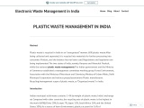 PLASTIC WASTE MANAGEMENT IN INDIA