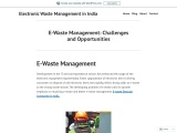 E-Waste Management: Challenges and Opportunities