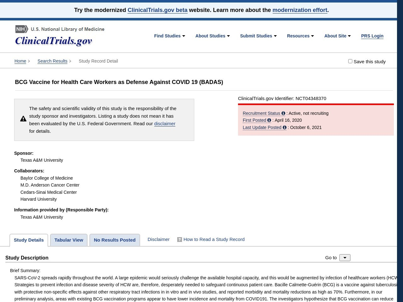 BCG Vaccine for Health Care Workers as Defense Against COVID 19 - Full Text View - ClinicalTrials.gov