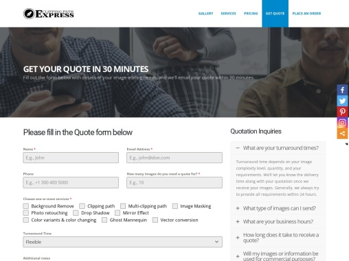 GET YOUR QUOTE IN 30 MINUTES – CLIPPING PATH EXPRESS