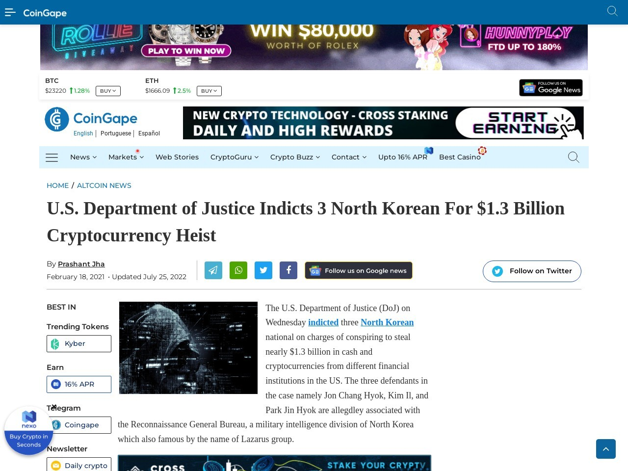 U.S. Department of Justice Indicts 3 North Korean For $1.3 Billion Cryptocurrency Heist