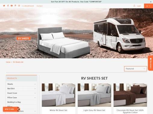 Choose trendy colors and perfect sizes of RV Queen Sheets at Comfort Beddings