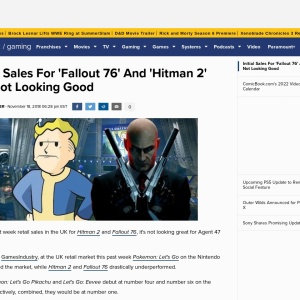 Initial Sales For 'Fallout 76' And 'Hitman 2' Are Not Looking Good