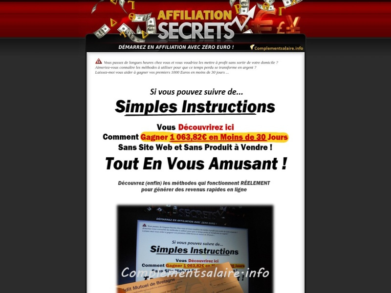 affiliation secrets demarrez avec zero euro