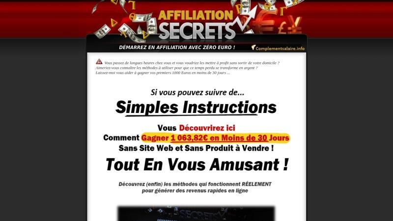 affiliation secrets demarrez avec zero euro