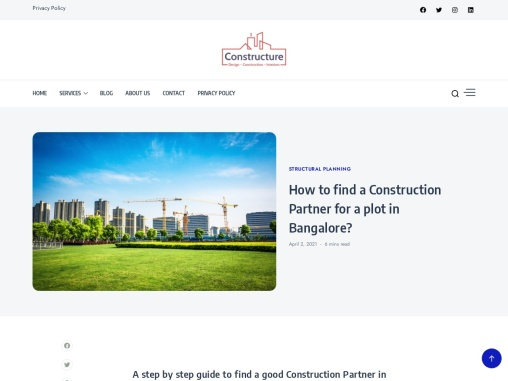 How to find a good Construction Partner for your plot in Bangalore?| Constructure