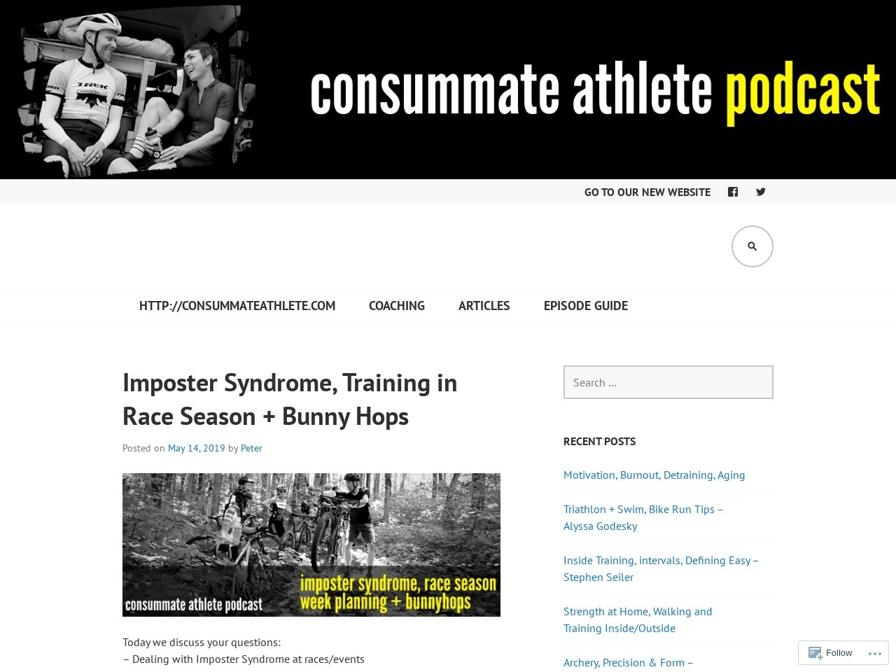 Imposter Syndrome, Training in Race Season + Bunny Hops – Consummate…