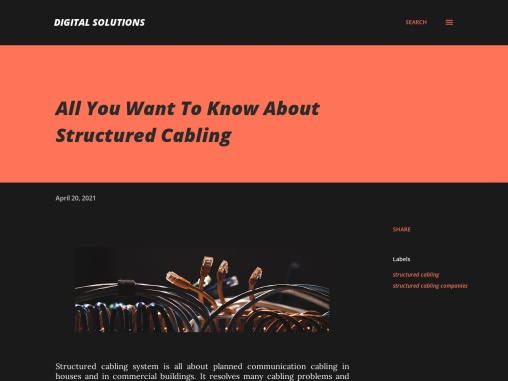 All You Want To Know About Structured Cabling
