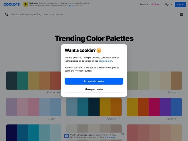 Coolors – The super fast color schemes generator!
