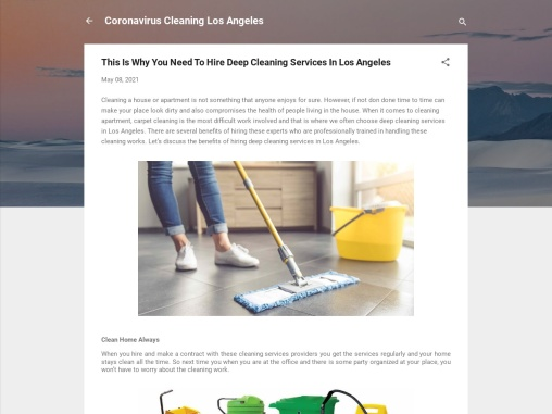 This Is Why You Need To Hire Deep Cleaning Services In Los Angeles
