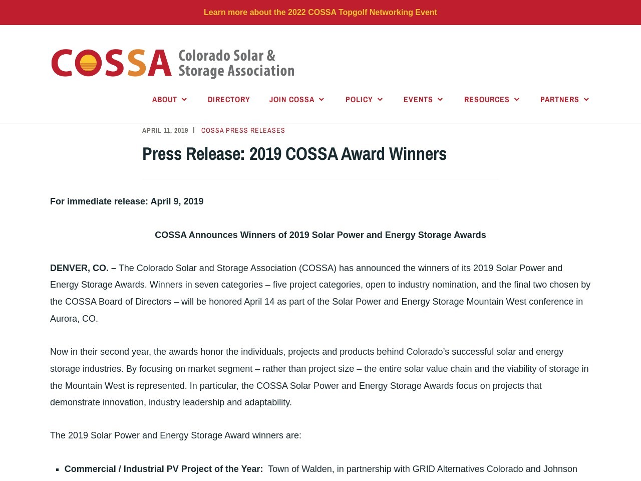 Press Release: 2019 COSSA Award Winners