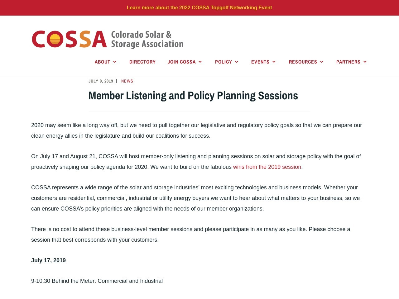 Member Listening and Policy Planning Sessions