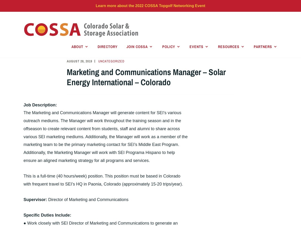 Marketing and Communications Manager – Solar Energy International – Colorado
