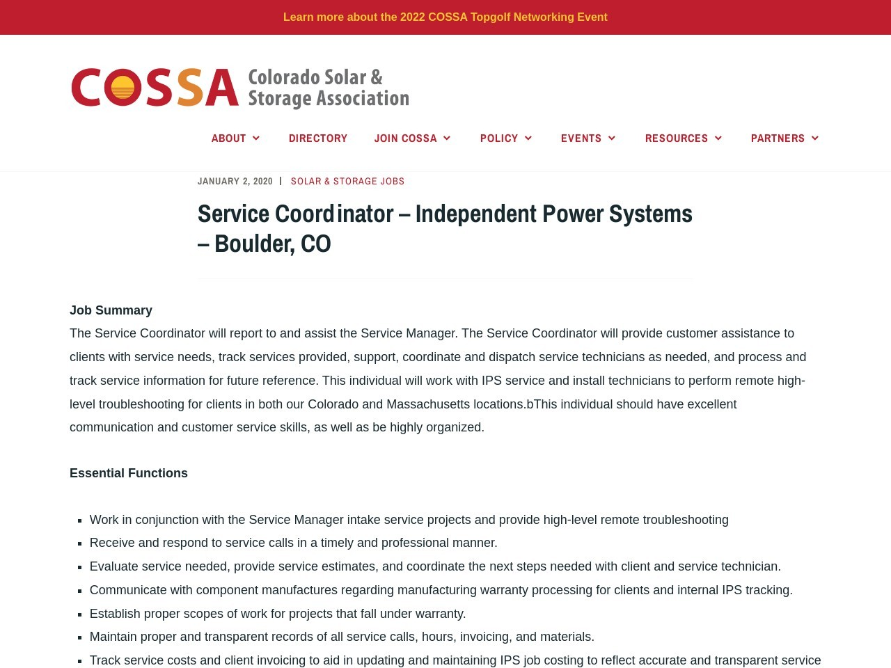 Service Coordinator – Independent Power Systems – Boulder, CO