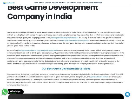 Best Game Development Company in India | Creatiosoft