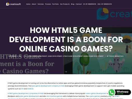 How HTML5 Games Development is a Boon for Online Casino Games?