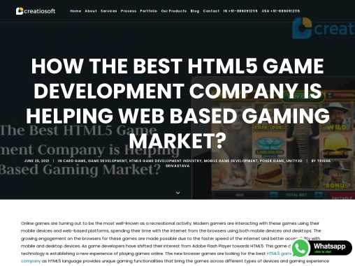 How The Best HTML5 Game Development Company is Helping Web Based Gaming Market?