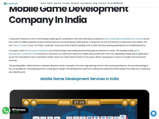 Mobile Game Development Company In India | Creatiosoft