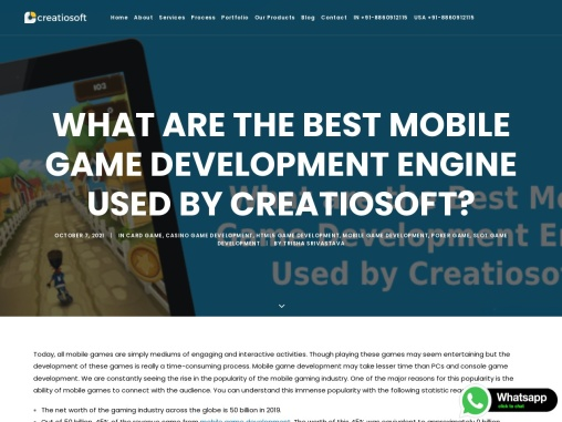 What are the Best Mobile Game Development Engine Used by Creatiosoft?