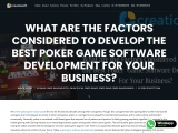 What are the Factors Considered to Develop the Best Poker Game Software Development For Your Busines