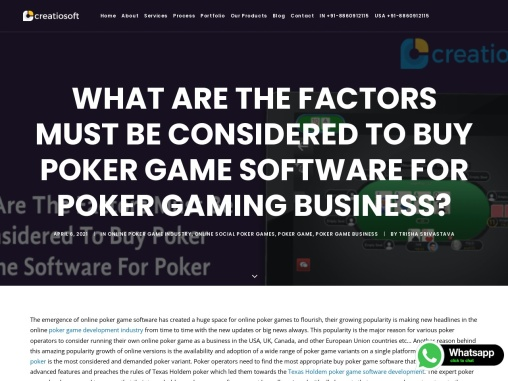 What Are The Factors Must Be Considered To Buy Poker Game Software For Poker Gaming Business?
