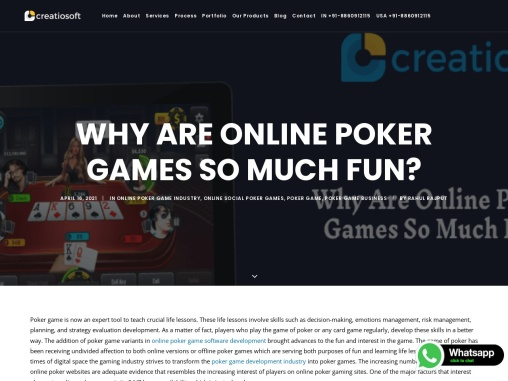 Why Are Online Poker Games So Much Fun? – Creatiosoft