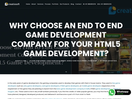 Why Choose an End to End Game Development Company For Your HTML5 Game Development?