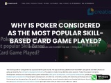 Why Is Poker considered as most popular Skill-Based Card Game Played?