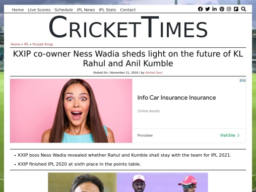 KXIP co-owner Ness Wadia sheds light on the future of KL Rahul and Anil Kumble