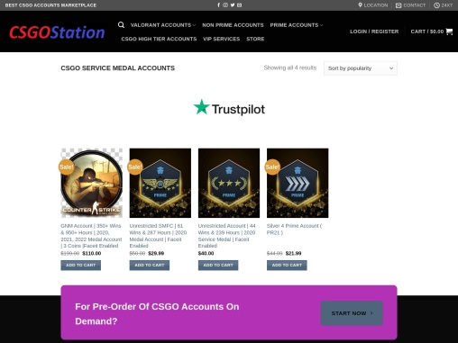 Buy CSGO Medal Accounts From CSGOStation