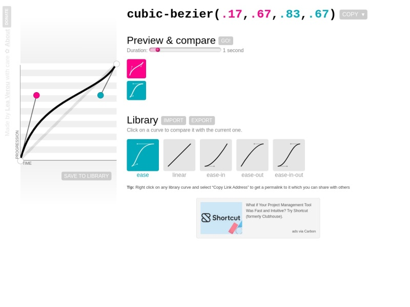 cubic-bezier.com | CSSのイージングのジェネレーター