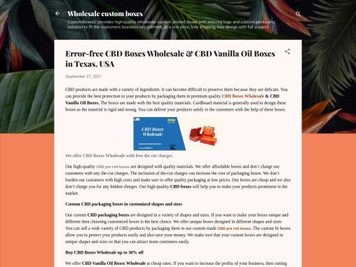 CBD Boxes Wholesale & CBD Vanilla Oil Boxes with your company logo