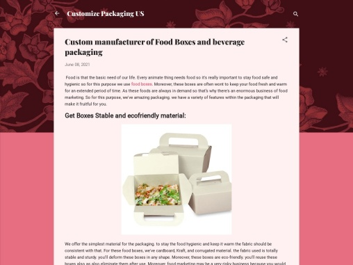 Custom manufacturer of Food Boxes and beverage packaging