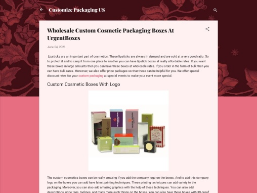 Wholesale Custom Cosmetic Packaging Boxes At UrgentBoxes