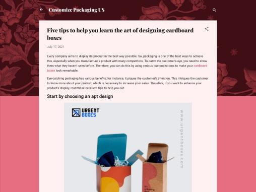 Five tips to help you learn the art of designing cardboard boxes