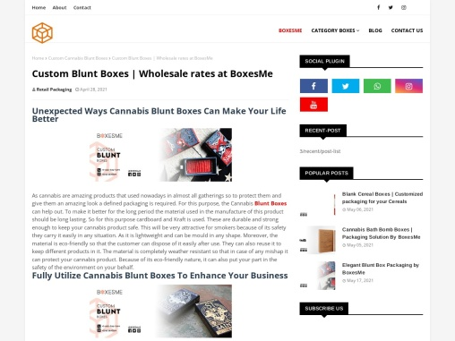Custom Blunt Boxes | Wholesale rates at BoxesMe