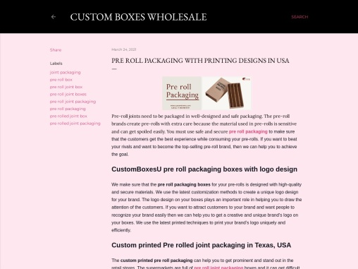 Buy custom Pre roll packaging with free Shipping in USA