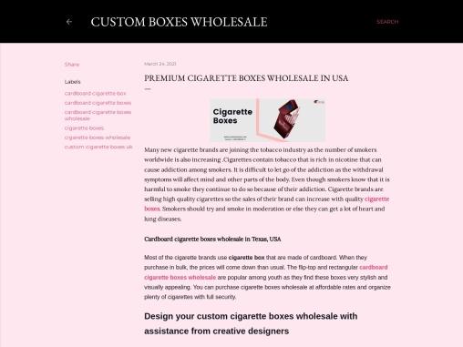 Cigarette boxes wholesale inUSA