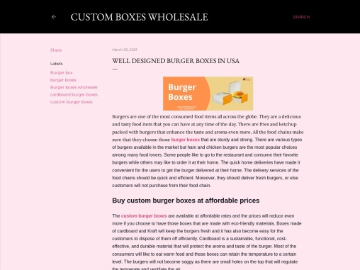 Burger Boxes with Printed logo & Design in USA
