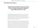 Diabetic Macular Edema Treatment Market Covid-19 Analysis Expected to Witness a Sustainable Growth