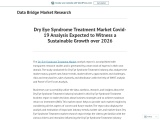 Dry Eye Syndrome Treatment Market Covid-19 Analysis Expected to Witness a Sustainable Growth