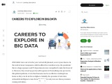 CAREERS TO EXPLORE IN BIG DATA