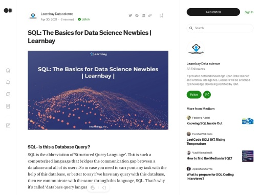 SQL: The Basics for Data Science Newbies | Learnbay