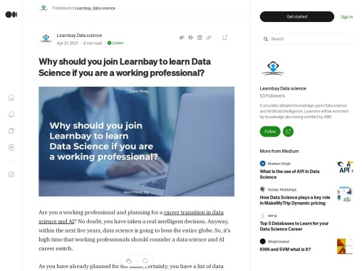 Why should you join Learnbay to learn Data Science if you are a working professional?