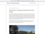 Useful Tips For Getting The Benefits Of Solar Energy
