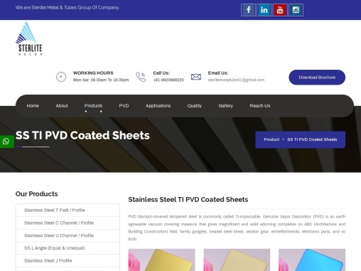 SS TI PVD Coated Profile  Sterlite Metal And Tubes Services