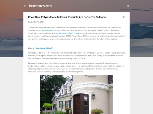 Know How Polyurethane Millwork Products Are Better For Outdoors