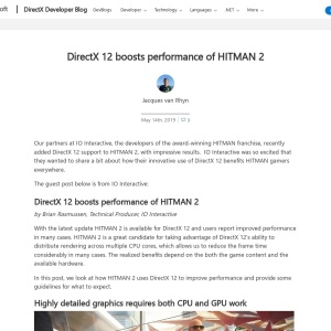 DirectX 12 boosts performance of HITMAN 2 | DirectX Developer Blog