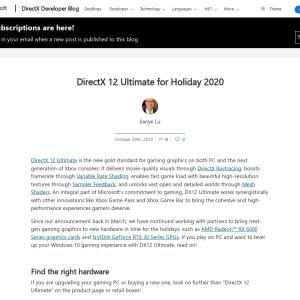 DirectX 12 Ultimate for Holiday 2020 - DirectX Developer Blog
