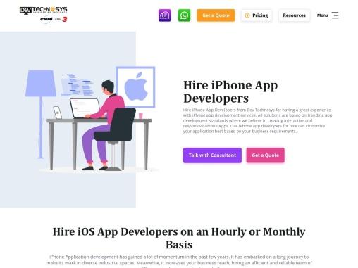 Hire iPhone app developer at Dev Technosys